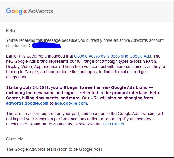 تغییر نام گوگل ادوردز